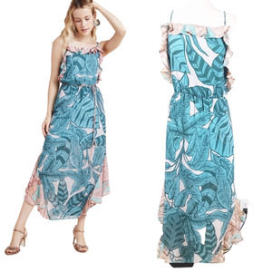 FARM RIO Maxi Dress Botanical Ruffles Blue Lge NWT